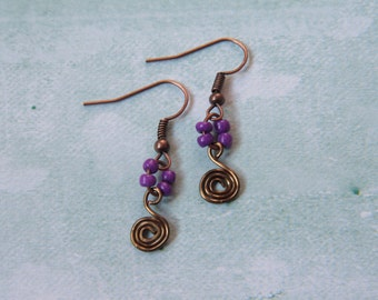 Purple Copper Spiral Earrings