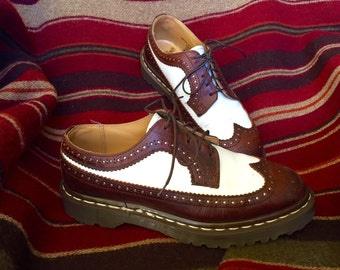 Vintage 1990's Preppy Hipster Dr. Martens Air Wair Brown and White Oxford
