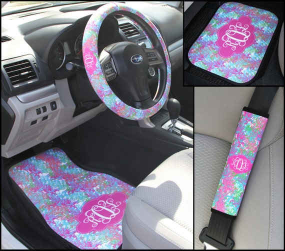 Colorful Coral Lilly Inspired Car Accessories MIX AND MATCH Steering Wheel Cover Seat Belt Covers Car Mats Personalized Monogram Carmats
