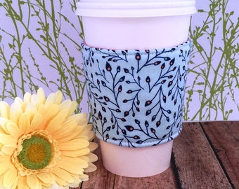 Fabric Coffee Cozy / Pretty Stems and Leaves Coffee Cozy / Coffee Cozy / Tea Cozy