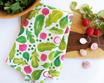Spring salad tea towel • watercolor lettuce greens and radishes