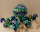 Crochet Octopus - Variegated Blue, Purple, Green