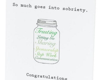 Sober Anniversary Jar Card - 1, 2, 3, 4 and 5 years