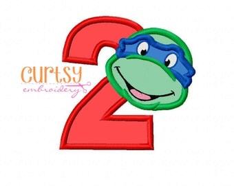 Ninja Turtle Birthday Embroidery Design, Ninja Turtle Embroidery Design, Second Birthday Applique Design, Ninja Turtle