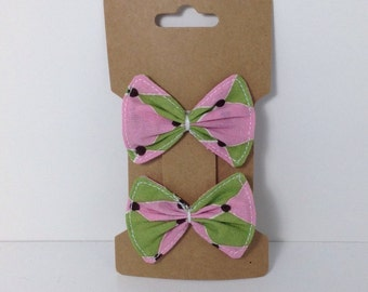 Handmade Pink Green Harlequin Fabric Bow Hair Clips {Set of 2}