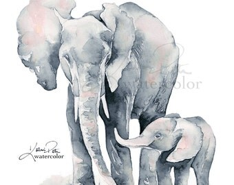 Elephant nursery print. Gray and Blush Pink. Elephant Mom and Baby watercolor. Elephant wall art, elephant paintings, elephant nursery art