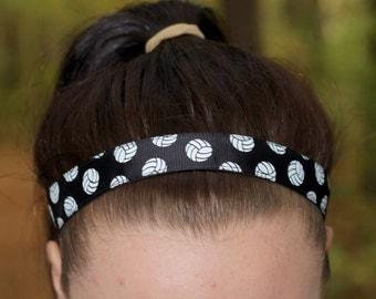 Black Womens Sport Volleyball Headband - Volleyball Team Headbands for Girls - Athletic Headband Adult Volleyball Gifts - Black Headband