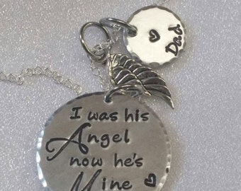 Sympathy Necklace - Sympathy Jewelry - Sympathy Gift - I Was His Angel - Remembrance Gift - Loss of Dad - Personalized - Hand Stamped
