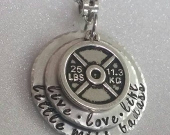 Weight Lifting Jewelry - Lifting Jewelry - Weight Lifting Necklace - Women Working Out - Live Love Lift - Hand Stamped - Gift for Her