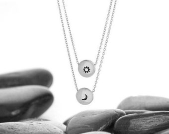 Sun and Moon, Moon Necklace, Sun Necklace, Sun, Sun Moon Necklace, Moon, Celestial Necklace, Sun and Moon Jewelry, Moon Jewelry, n249A