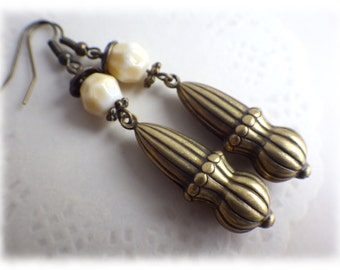 Victorian Dangle - earrings vintage style Steampunk Antique Brass