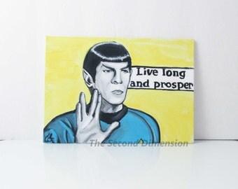 "Star Trek Spock Live Long & Prosper Flat Art Canvas Painting - Classic Original Star Trek Series ( 7"" x 5"" )"