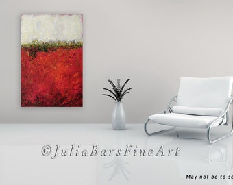 Red Abstract Giclee Print Large Art On Canvas And White