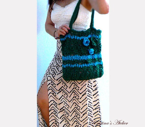 Rose crochet tote - Cotton green beach purse- Green blue crochet women handbag- Casual tote- Summer flowers crochet purse- Flowers green bag