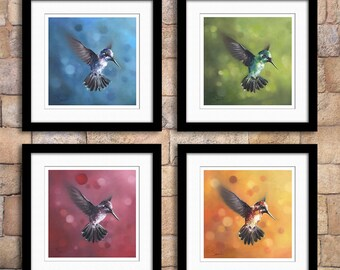 Set of 4 hummingbird oil painting fine art prints - discounted price - giclee prints