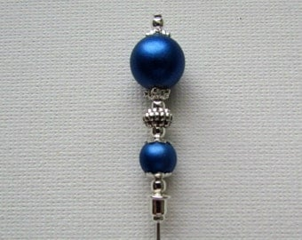 Metallic Blue Beaded  Antique Silver Plated Hat Pin, Stick Pin, Hijab Pin