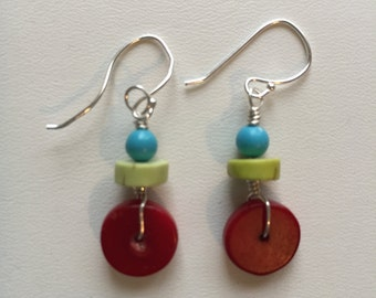 Cherry and Lime--Red Coral & Turquoise Earrings
