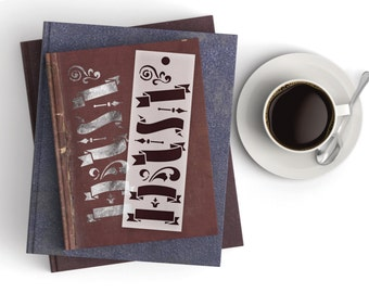 Journal Banners Bookmark Stencil