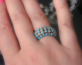 Turquoise ring jewelry Gold turquoise ring Turquoise crystals Mesh ring size 7 Vintage rhinestone ring Aqua blue ring Gold blue ring