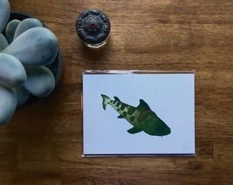 "Leopard Shark Watercolor Print 5"" x 7"""