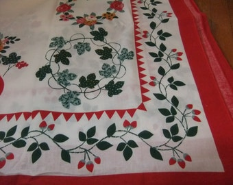Vibrant Folk Art Design Cotton Fallani & Cohn Tablecloth in Red, Green, Gold on White Background, Merrowed Border