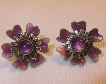 Pink Enamel over Sterling Silver Flower Pierced Earrings