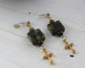 Gold Cross Earrings Jewelry, Christian Jewelry, Cross Jewelry Earrings, Gold Cross Earrings W/ Gold Cross Charm,  Christian Earrings