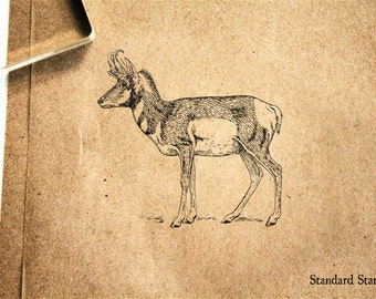 Pronghorn Antelope Rubber Stamp - 2 x 2 inches