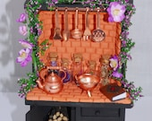 Miniature fairy fireplace brick oven, dollhouse 1:12 scale, flowers in bottles, herbalist hutch