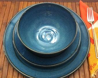 handmade dinner plate, ceramic plate, wedding registry, blue plate, midnight blue, royal blue, blue, rustic