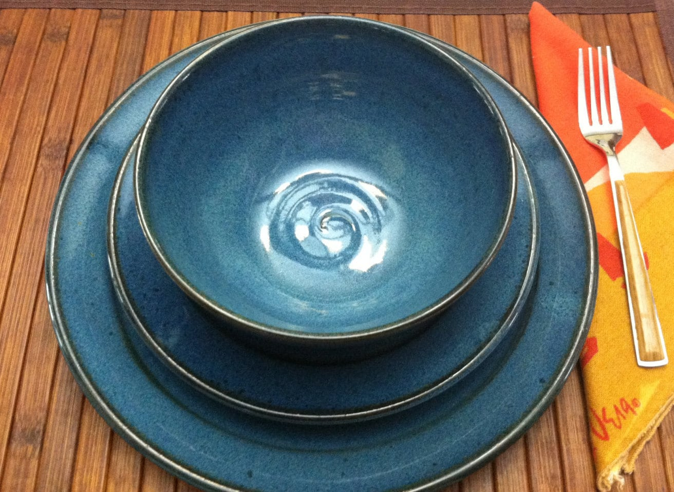 handmade dinner plate ceramic plate wedding registry blue