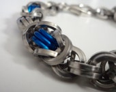 Thin Blue Line Bracelet - Mens Police Support Jewelry - Blue and Stainless Steel - Heavy Byzantine Chainmaille Weave