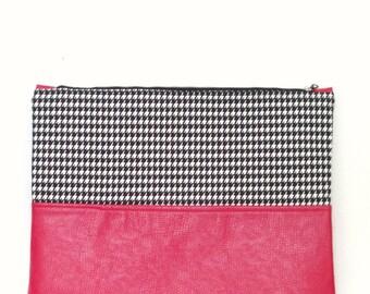 Clutch / Oversize Clutch Bag /  Fold over Clutch Bag / Clutch Purse / Evening Bag / Handbag / Purse / Red Leather/ Black Houndstooth