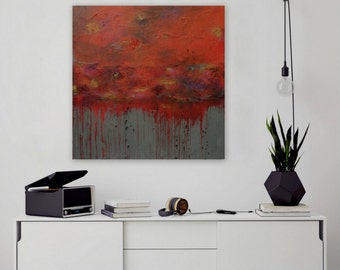 Abstract Painting, Orange Painting, Large Painting, Original Wall Art, Modern Painting, Textured Art - 36 x 36 Ready to Hang by Maria Sa