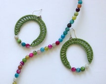 Crochet Lace Grass Green Earrings With Agate Beads in Pink, Blue and Green and Green Cotton Yarn, Eco Friendly Easter Eggs Openwork Earrings