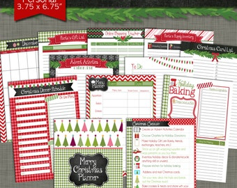 Merry Christmas Printable Planner - Personal Size X-Small 3.75 x 6.75 PDF - Instant Download