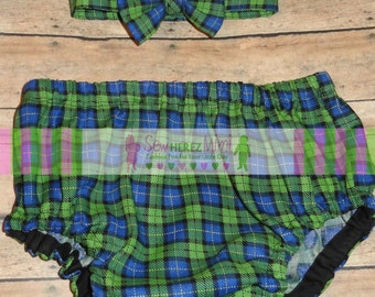 Golf Inspired Lime Navy Plaid Birthday Diaper Cover Optional Bow Tie Cake Smash Newborn Photo Prop