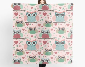 Pastel Owl Pattern Scarf - Owls in Love - Shabby Chic Scarf - Sheer Fashion Scarf