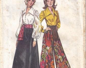 1972 Simplicity 5235 Misses' Blouse, Skirt, Pantskirt and Sash Pattern, Size 10