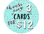 Choose Any 3 Cards For 12 - Choose Your Own Cards - Christmas Card - Bulk Greeting Cards - Funny Cards - Holiday Card Set