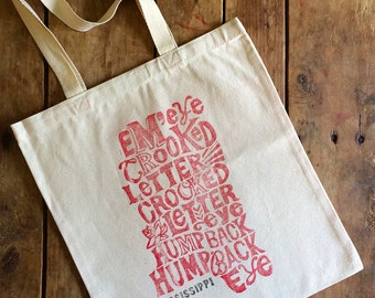 Mississippi Crooked Letter Tote Bag - Hand Block Printed - Unbleached 100% Cotton - Eco Friendly Ink