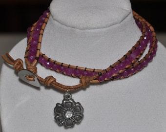 SALE! Wrap Bracelet Fuschia Charm Double #506