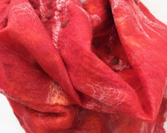 Nuno felted scarf, red. Silk, wool, felt shawl, handmade for women