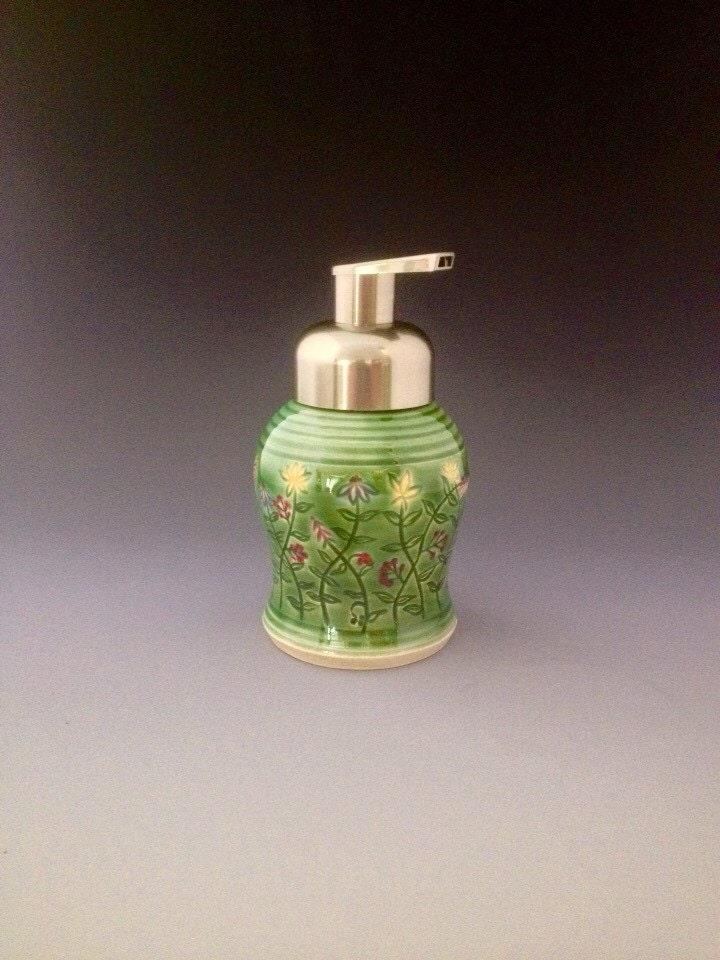 Ceramic Pump Dispenser For Foaming Soap By Northwind Pottery