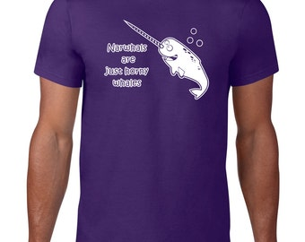 Narwhal TShirt, Funny Tshirt, Narwhal T Shirt, Horny Whale Tee, Funny T Shirt, Nautical Ocean Animal T Shirt, Ringspun Cotton Mens Plus Size