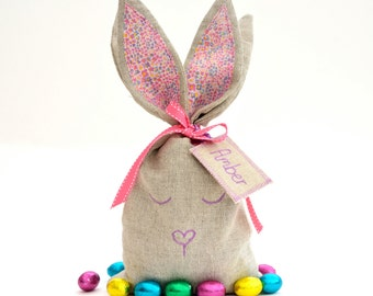 Bunny Bag // Personalised Easter Gift // Gift to fill with treats // Gift of Children