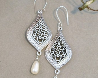 Intricately Detailed Silver & White Pearl Teardrop Dangles