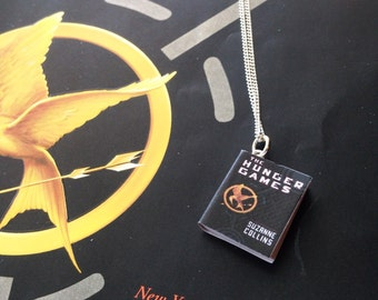 Handmade The Hunger Games Miniature Book Necklace // Suzanne Collins Book // Katniss Peeta