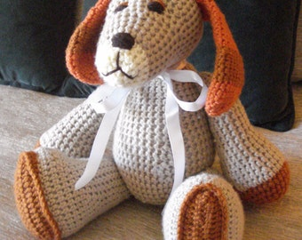 "Crocheted  puppy dog stuffed animal doll toy ""Homer"""