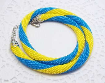 Christmas gift ideas/for/mom gift handmade necklace Yellow blue jewelry rope jewelry knitted jewelry handcrafted jewelry pretty jewelry gift